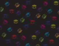Colorful gift box pattern on black background. Gift box vector pattern black background Stock Images