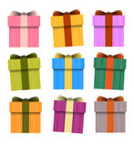 Gift box,Vector Present Boxes. Vector Gift box Collection in white Background. many colors Collection Stock Image
