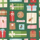 Gift box vector present packs Christmas or Birthday flat illustration celebration bow object seamless, pattern Stock Image