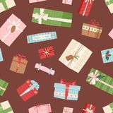 Gift box vector present packs Christmas or Birthday flat illustration celebration bow object seamless, pattern  Stock Photo