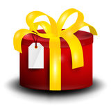 Gift Box. Vector Rounded Red Present Box. With Gold Ribbon and Empty Tag Isolated on White Background Stock Image