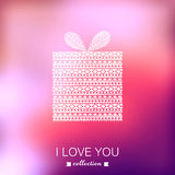 Gift box. Vector Valentine's Day background. Blurred template, h Royalty Free Stock Photos