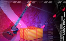 Gift box and violin Royalty Free Stock Photo