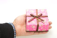 Gift box was placed in my palm Royalty Free Stock Photos