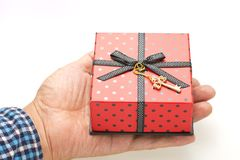 Gift box was placed in my palm Stock Images