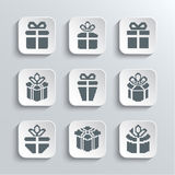 Gift Box Web Icons Set Holiday Presents Stock Photography
