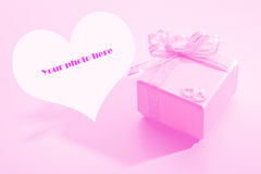 Gift box for wedding. The gift box for wedding in pink background Royalty Free Stock Image