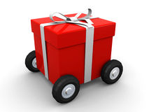 Gift box on wheels Stock Images