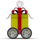 Gift box on wheels Stock Photography