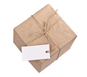 Gift box whit tag Royalty Free Stock Photography