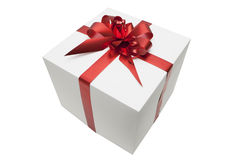 Gift box on white background. Gift box with red tape, isolated on white background Royalty Free Stock Photo
