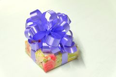 Gift. Box on white background stock images