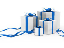 Gift box white blue ribbon Stock Image