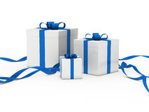 Gift box white blue ribbon Stock Photography