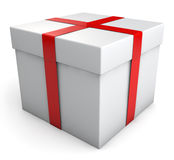Gift Box. White gift box. Clipping path included for easy selection Royalty Free Stock Photos