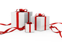 Gift box white red ribbon Royalty Free Stock Image