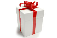 Gift box white Stock Photography