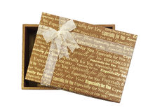 Gift box with white transparent ribbon bow isolated Stock Images