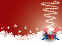 Gift box on winter background stock photos