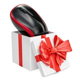 Gift box with wireless computer mouse, 3D rendering. Isolated on white background Royalty Free Stock Photography