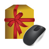 Gift box and Wireless computer mouse Royalty Free Stock Photography