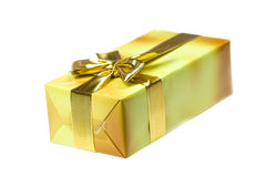 Gift Box With Golden Ribbon,isolated On The White Stock Photo