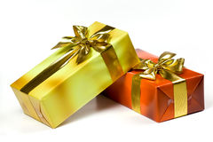 Gift Box With Golden Ribbon,isolated On The White Royalty Free Stock Photo
