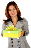 Gift box woman Royalty Free Stock Images