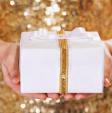 Gift box in woman hands Stock Images