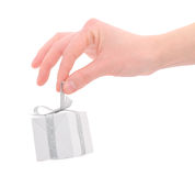 Gift box in woman's hand Royalty Free Stock Photography