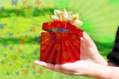 Gift box in woman's hands Stock Photography