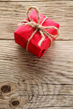 Gift box on wood Royalty Free Stock Images