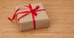 Gift Box On Wooden Background Royalty Free Stock Photo
