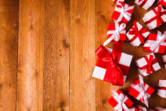 Gift box with wooden. Background Royalty Free Stock Photos