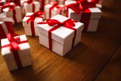 Gift box with wooden. Table Royalty Free Stock Image