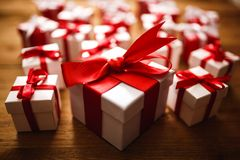 Gift box with wooden. Table Royalty Free Stock Images