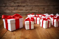 Gift box with wooden. Table Stock Image