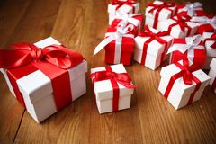 Gift box with wooden. Table Stock Images