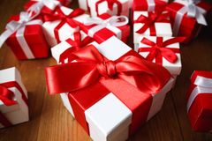 Gift box with wooden. Table Stock Photo