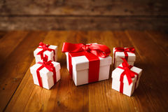 Gift box with wooden. Table Royalty Free Stock Photo