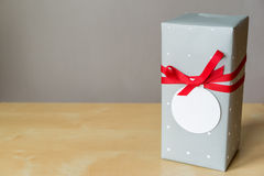 Gift box on wooden table with copy space on greeting card, clipping path included Stock Images