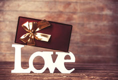 Gift box and word Love Royalty Free Stock Photography
