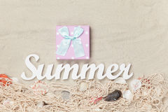Gift box and word Summer Stock Photography