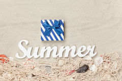 Gift box and word Summer Stock Image