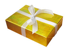 Gift box wrap and ribbon with gold foil wrapping paper and white Stock Photos