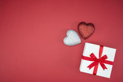 Gift box wrap silk ribbon with love heart shape Royalty Free Stock Photos