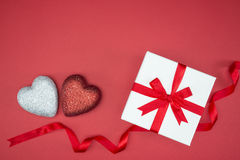 Gift box wrap silk ribbon with love heart shape Stock Photo