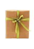 Gift box wrapped in brown paper Stock Photo