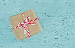 Gift box wrapped in brown paper Royalty Free Stock Image