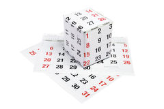 Gift Box Wrapped with Calendar Page Stock Photo